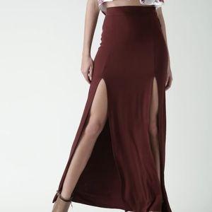 Forever 21 Front Slit Maxi Skirt,  Size L
